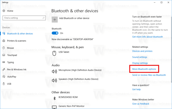 More Bluetooth Options Link