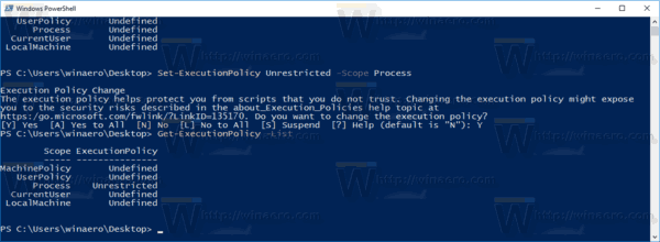 PowerShell Execution Policy Is Set For A Process
