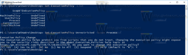 PowerShell Set Execution Policy For A Process