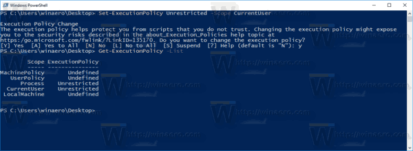 PowerShell Set Execution Policy For A User