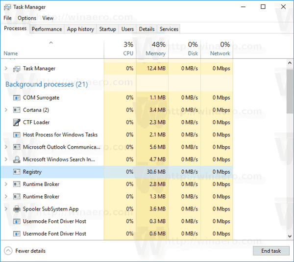 Registry Process In Task Manager 1