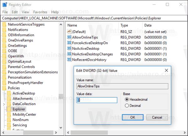 Remove Online Tips Settings Windows 10