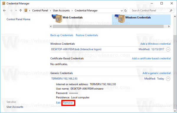 Remove Saved RDP Credentials In Windows 10