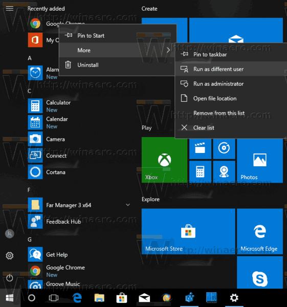 Run As Different User Windows 10 Start Menu