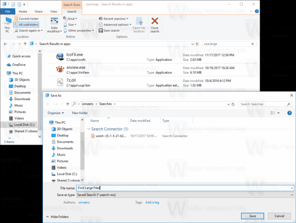Save Search In Windows 10
