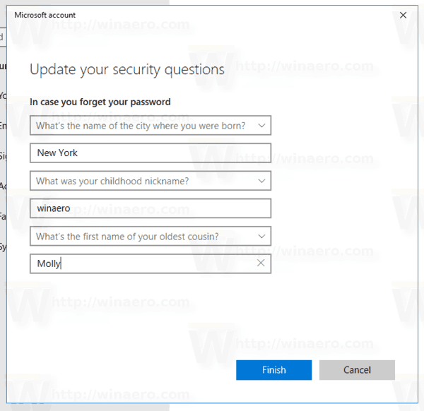 Window 10 Add Security Questions