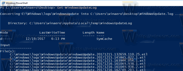 Windows 10 FInd Windows Update Log
