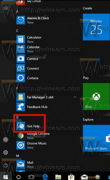 windows 10 get help app start menu