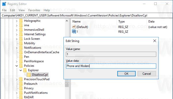Windows 10 Hide Control Panel Applet