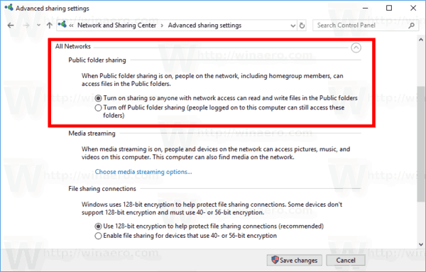 Windows 10 Public Folder Sharing