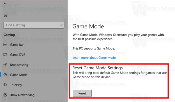 How to Reset Game Mode Settings in Windows 10