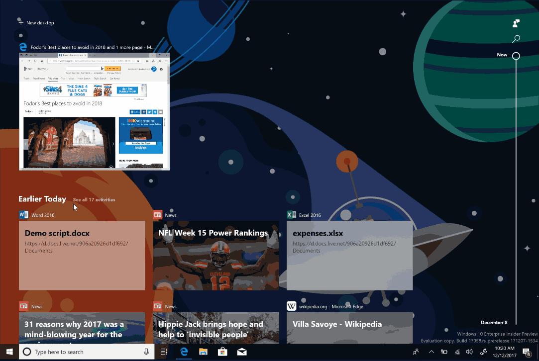 Windows 10 Timeline Build 17058