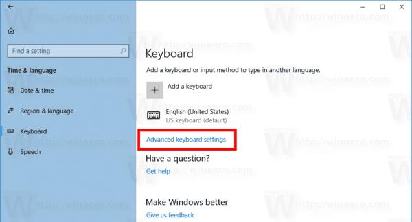Windows 10 Advanced Keyboard Settings Link