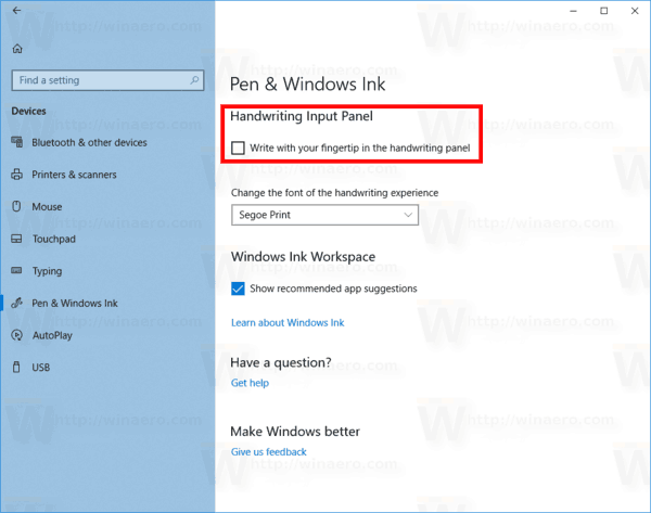 Windows 10 Disable Write With Fingertip