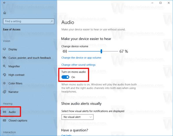 Windows 10 Enable Mono Audio