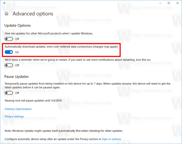 Windows 10 Enable Updates Over Metered Connections
