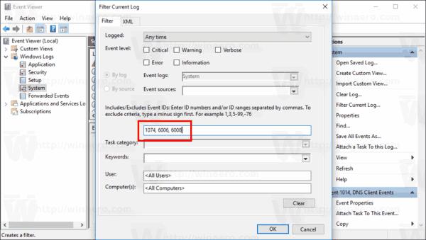 Windows 10 Filter Shutdown Events