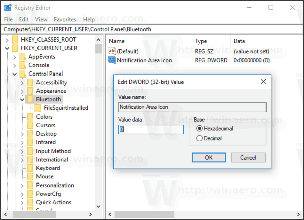 Windows 10 Remove Bluetooth Icon Registry