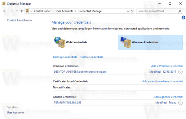 Windows Credentials Manager