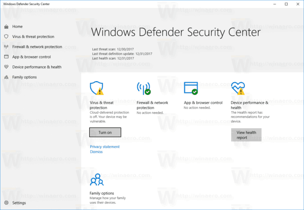 Windows Defender Security Center Rs4
