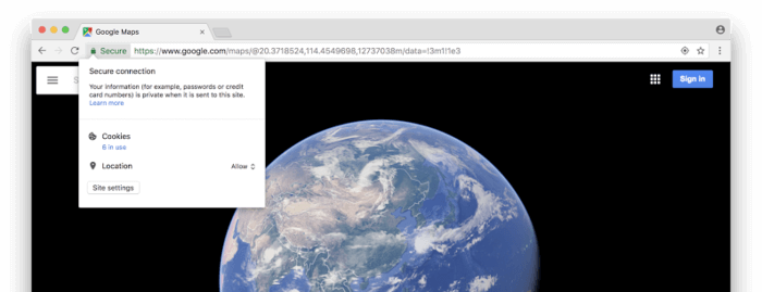 Chrome 63 Security Permissions Popup