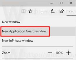 Edge Open Application Guard Window