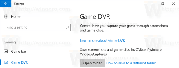 Game Dvr In Settings Windows 10