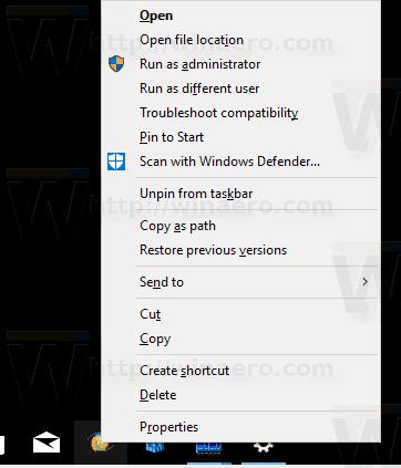 Taskbar App Classic Extended Menu In Windows 10