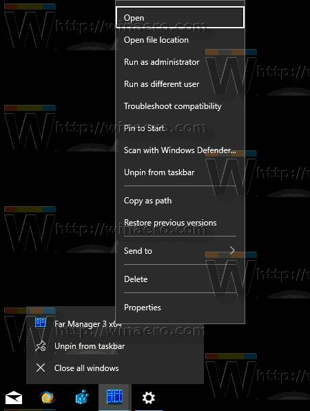 Taskbar App Extended Context Menu In Windows 10