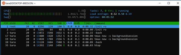 Tmux Session In Htop