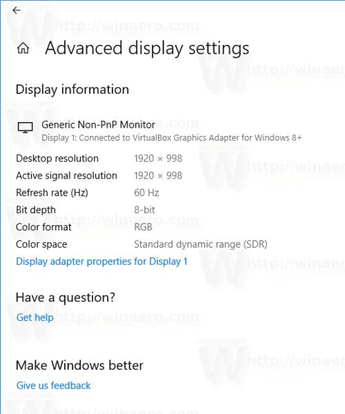 View Display Details In Windows 10