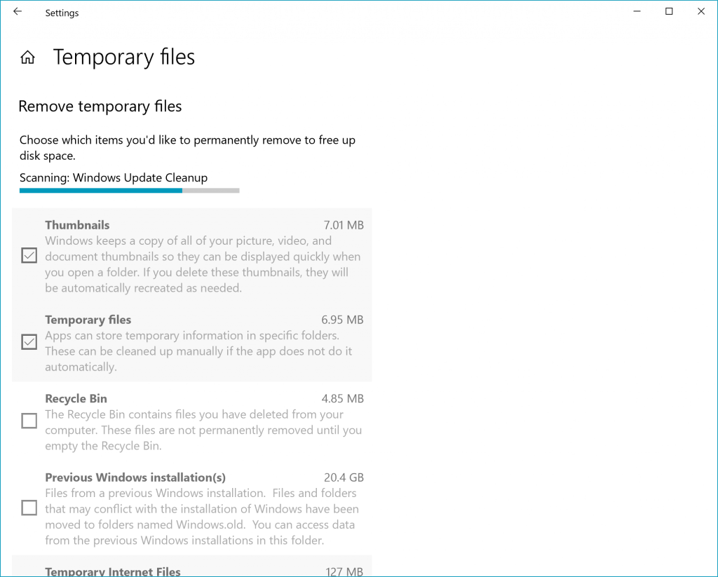 Temporary files section in Settings – scanning for temp files, shows Thumbnails, Temporary files, Recycle Bin and more things that can be cleaned up.