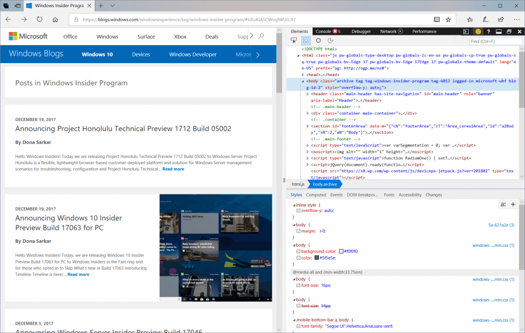Screen Capture showing the Microsoft Edge DevTools docked to the right of a web page.
