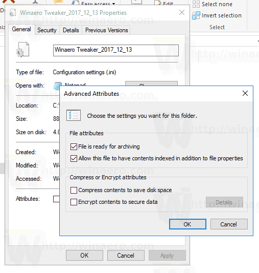 File Properties Advanced Attributes Windows 10