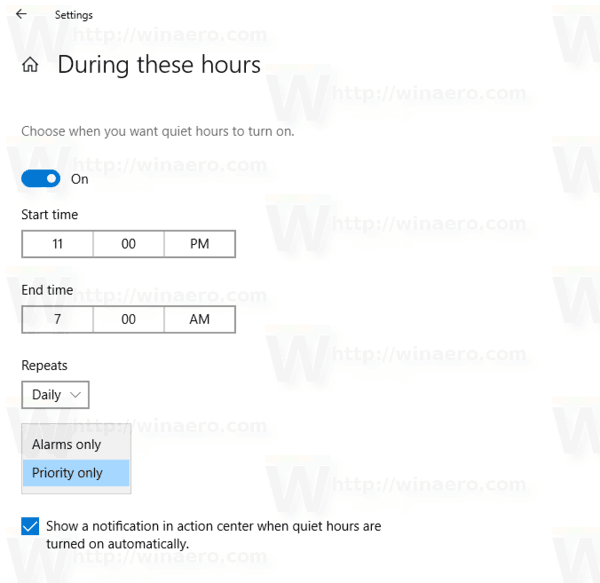 Quiet Hours Automatic Change Pirority Windows 10