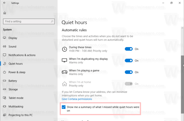Quiet Hours Automatic Rules Enable Summary Windows 10