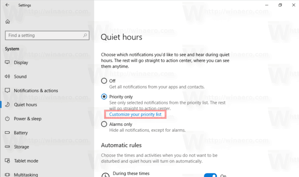 Quiet Hours Customize Your Prioiry List Windows 10