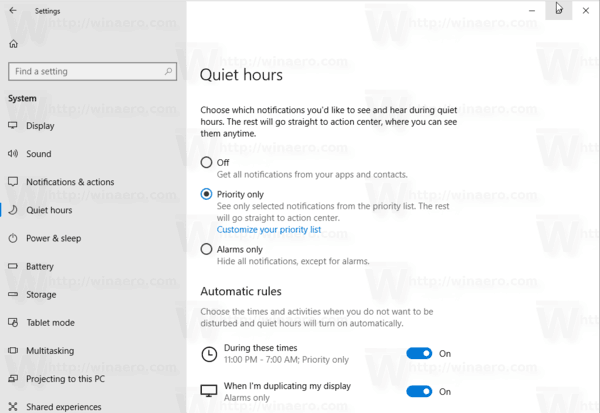 Quiet Hours Windows 10