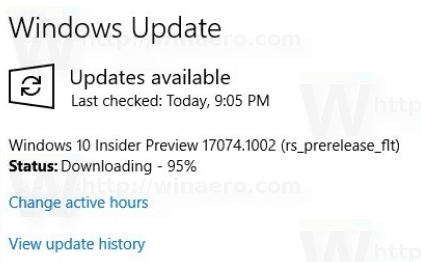 Windows 10 17074.1002 Update