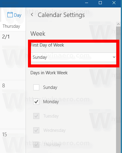 Windows 10 Calendar Change First Day Of The Week Step3
