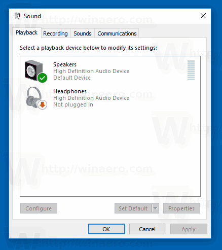 Windows 10 Classic Sound Applet