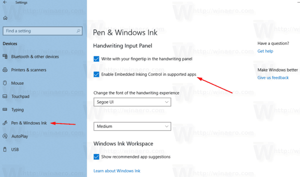 Windows 10 Embedded Handwriting Panel