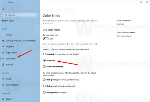 Windows 10 Enable Greyscale Mode