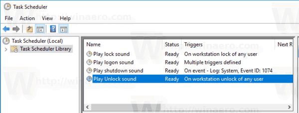 Windows 10 Play Unlock Sound Task Created