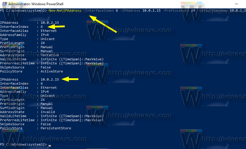 Windows 10 PowerShell Set Ip Address