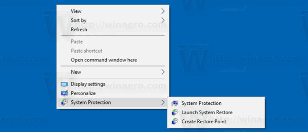 Windows 10 System Protection Context Menu