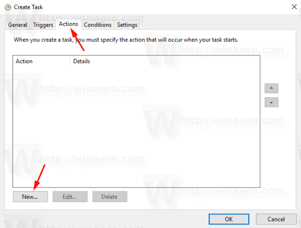 Windows 10 Actions Tab