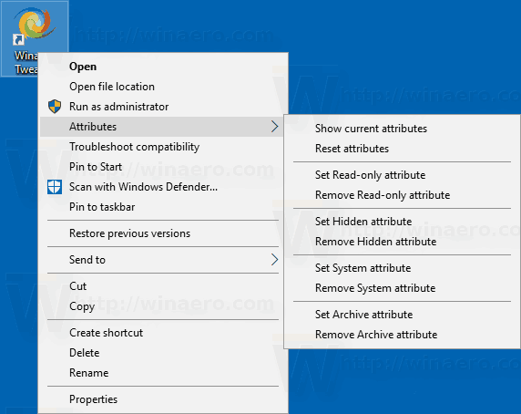 Windows 10 Attributes Conext Menu