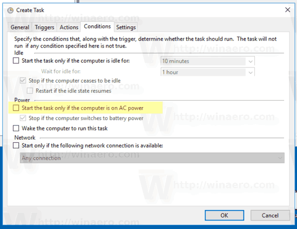 Windows 10 Conditions Tab
