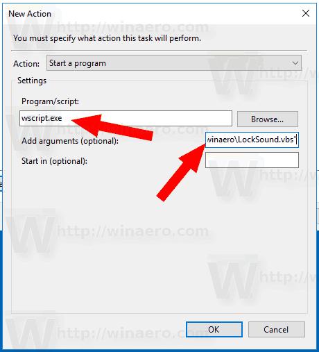 Windows 10 Lock Sound Task Action